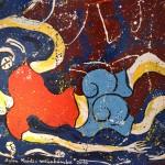 Detalle de una obra con un homenaje a Aylan, el niño ahogado