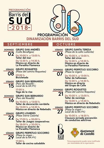 Programa septiembre-octubre dinamización barrios del Sur
