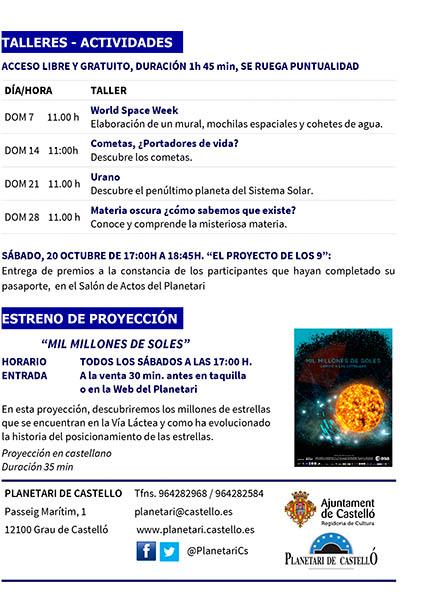 Programa Planetari Octubre