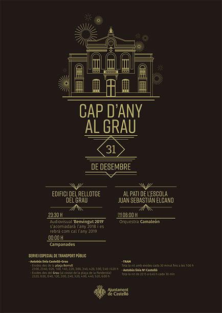 Cartel fiesta Nochevieja Grao Castellón 2018