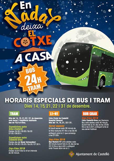 Cartel transporte navidad en Castellón
