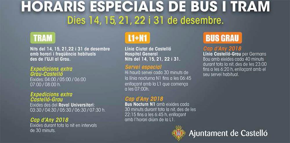 Horarios especiales Navidad transporte urbano Castellón