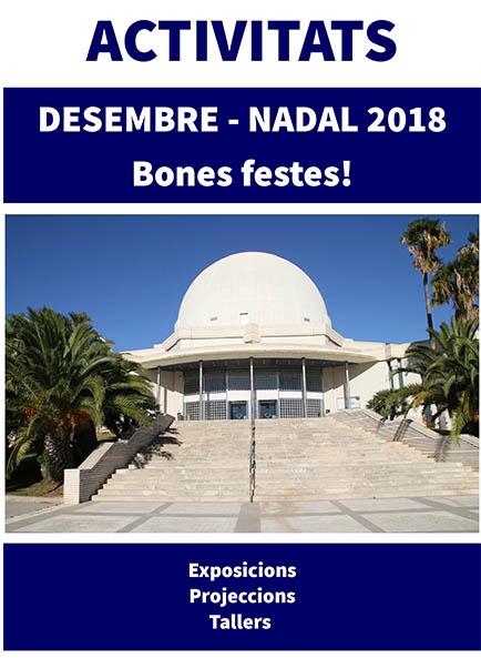 PLANETARI DE CASTELLÓ. PROGRAMA DESEMBRE 2018